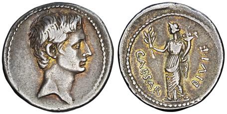Augustus (Octavian) Denarius - Pax (RIC 252), 29 BC