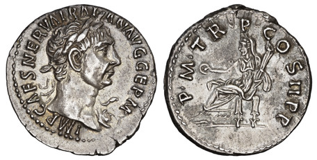 Trajan Denarius - Vesta Seated (RIC 9 var), 98-99 AD