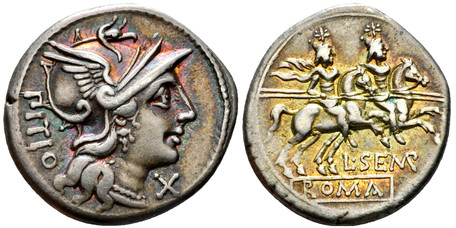 L. Sempronius Pitio Denarius - Dioscuri Galloping (Crawf. 216/1), 148 BC