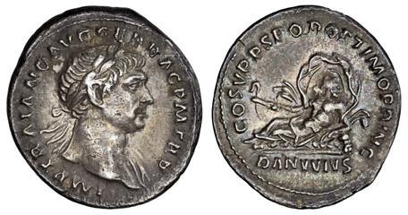 Trajan Denarius - Danube (RIC 100), 103-111 AD