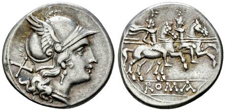 Anonymous Roma Denarius - Dioscuri Galloping (Crawf. 53/2), 211 BC
