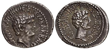 Mark Antony and Octavian Denarius (Crawf. 517/2), 41 BC