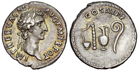 Nerva Denarius - Priestly Implements (RIC 23), 97 AD