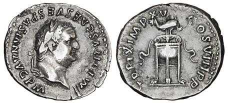 Titus Denarius - Tripod and Dolphin (RIC 128), 80 AD