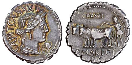 C. Marius Capito Denarius Serratus - Ploughman with Oxen (Crawf. 378/1c), 81 BC