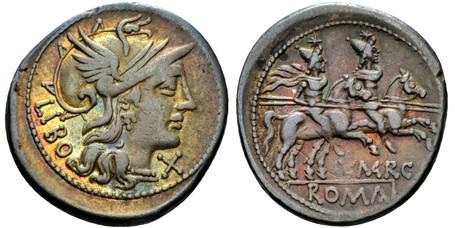 Q. Marcius Libo Denarius - Dioscuri Galloping (Crawf. 215/1), 148 BC