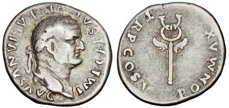 Vespasian Denarius - Winged Caduceus (RIC 702), 74 AD