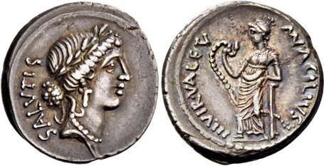 Mn. Acilius Glabrio Denarius - Salus with Valetudo holding Snake (Crawf. 442/1a), 49 BC