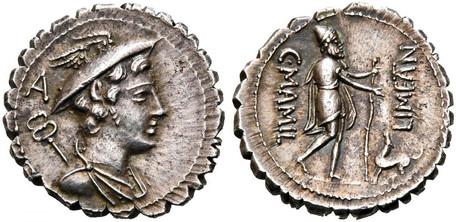 C. Mamilius Limetanus Denarius Serratus - Odysseus and his dog Argos (Crawf. 362/1), 82 BC