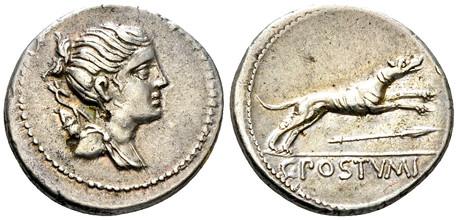 Caius Postumius Denarius - Running Hound (Crawf. 394/1b ), 74 BC