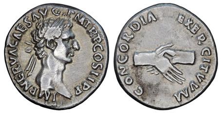 Nerva Denarius - Clasped Hands (RIC 2), 96 AD