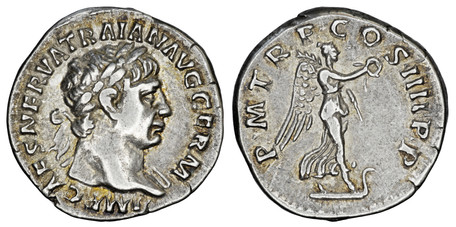 Trajan Denarius - Victory on Prow (RIC 59), 101-102 AD