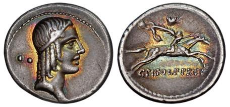C. Calpurnius L.f. Frugi Denarius - Horseman Galloping (Crawf. 408/1b), 67 BC