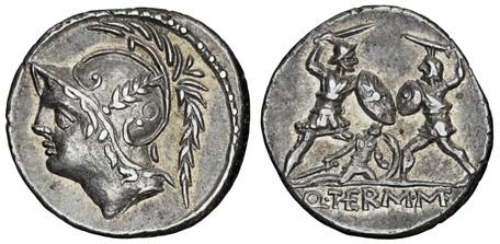 Q. Minucius Thermus Denarius - Warriors in Combat (Crawf. 319/1), 103 BC