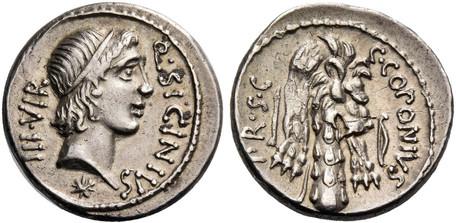 Q. Sicinius and C. Coponius (with Pompey) Denarius - Club of Hercules with Lionskin (Crawf. 444/1a), 49 BC