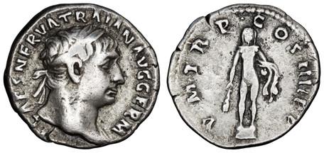 Trajan Denarius - Hercules (RIC 49), 101-102 AD