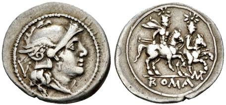 Republican Quinarius - Dioscuri Galloping (Crawf. 103/2b), 211 BC