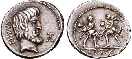 L. Titurius Sabinus Denarius - Rape of the Sabine Women (Crawf. 344/1a), 89 BC