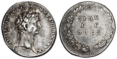 Claudius Denarius - Oak Wreath (RIC 41), 46 AD