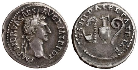 Nerva Denarius - Priestly Implements (RIC 24), 97 AD