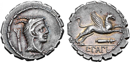 L. Papius Denarius Serratus - Juno Sospita with Griffin (Crawf. 384/1), 79 BC