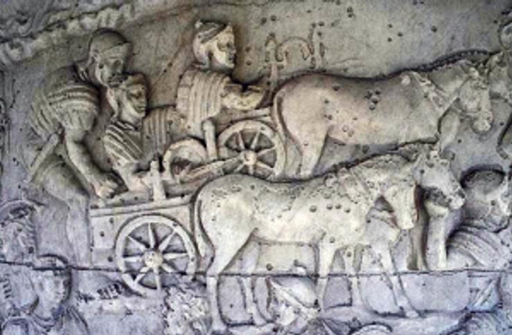 Carroballista, chariot mounted artillery, being deployed in the Dacian Wars.