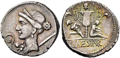 Julius Caesar Denarius - Trophy of Gallic Arms (Crawf. 468/2), 46 BC