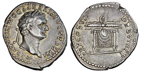 Domitian Denarius - Thunderbolt on Table (RIC 70), 81 AD