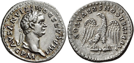 Domitian Denarius - Eagle Grasping Thunderbolt (RIC 144), 82 AD