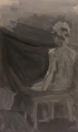 Woman Staring at Curtain