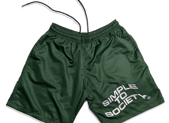 Embroidered Lightweight Essential Shorts | Green