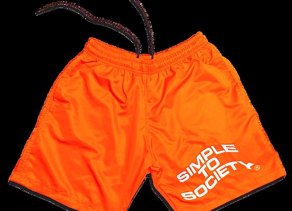 Embroidered Lightweight Essential Shorts | Neon Orange