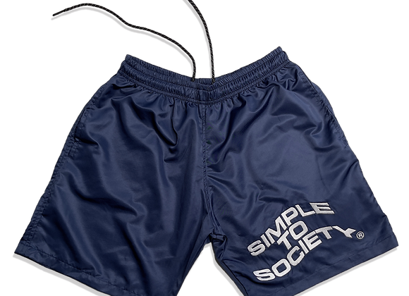Embroidered Lightweight Essential Shorts | Navy Blue