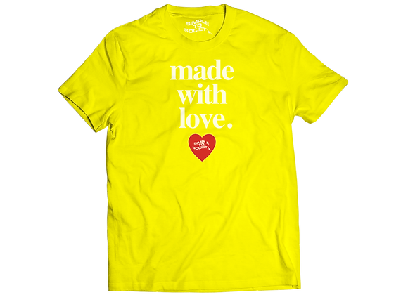 """""""Made With Love"""" T-Shirt   Yellow"""