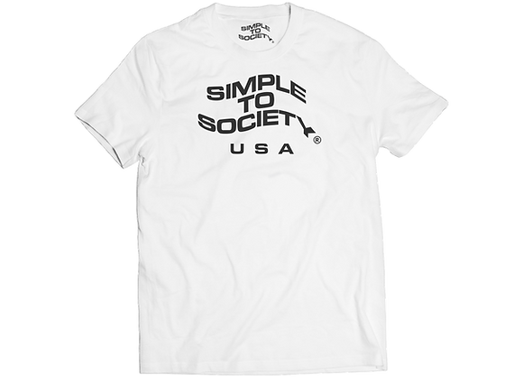 """Simple To Society USA Logo"" T-Shirt // White"