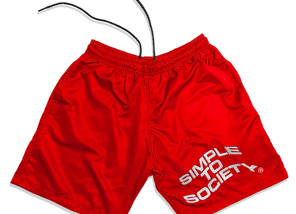 Embroidered Lightweight Essential Shorts | Red