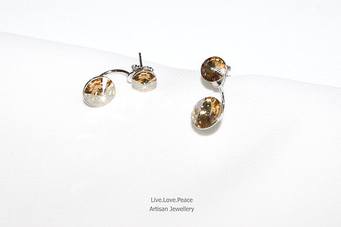 'Sparkling Double Golden Shadow Crystal' Sterling Silver Push Back Earring