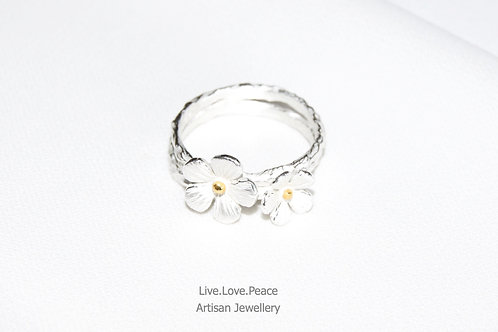 'Serenity Flowers' Sterling Silver Ring
