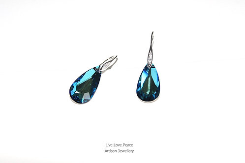 'Bermuda Blue Crystal' Sterling Silver Hook Earrings With Diamonds