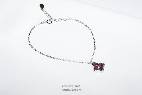 'Butterfly' Sparkling Pink Crystal Sterling Silver Bracelet