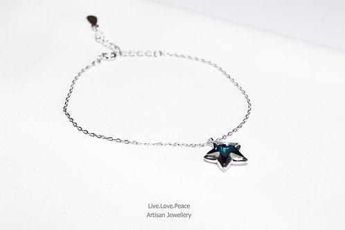 'Starry' Sparkling Bermuda Blue Crystal Sterling Silver Bracelet