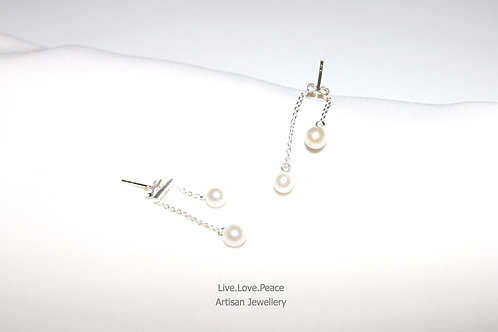 'Libra' Sterling Silver Push Back Earrings With Pearls