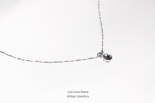 'Solitaire Crystal' Sterling Silver Necklace