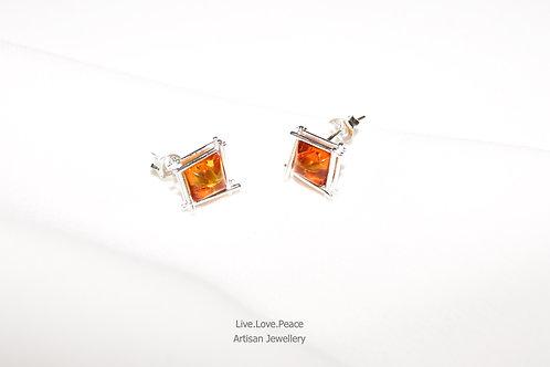 'Baltic Amber' Sterling Silver Push Back Earrings