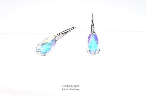 'Aurore Boreale Crystal' Sterling Silver Hook Earrings With Diamonds