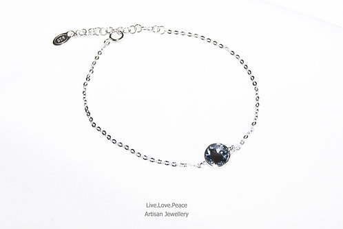 'Silver Night' Sparkling Dark Crystal Sterling Silver Bracelet