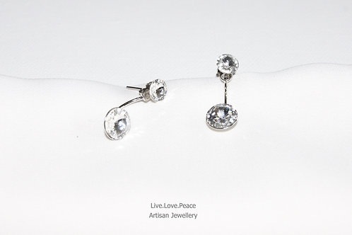 'Sparkling Double Crystal' Sterling Silver Push Back Earrings