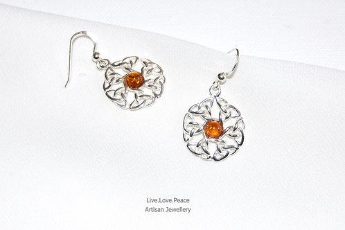 'Floral Amber' Sterling Silver Hook Earrings