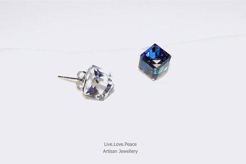 'Sparkling Bermuda Blue Crystal' Sterling Silver Push Back Earrings