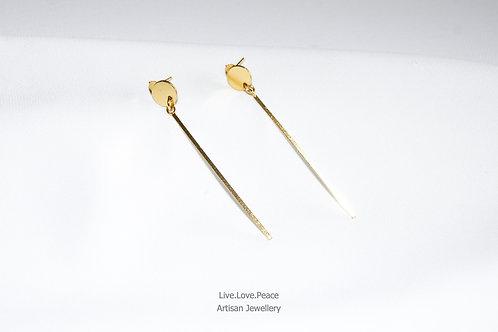 'Gold Bar' Push Back Earrings
